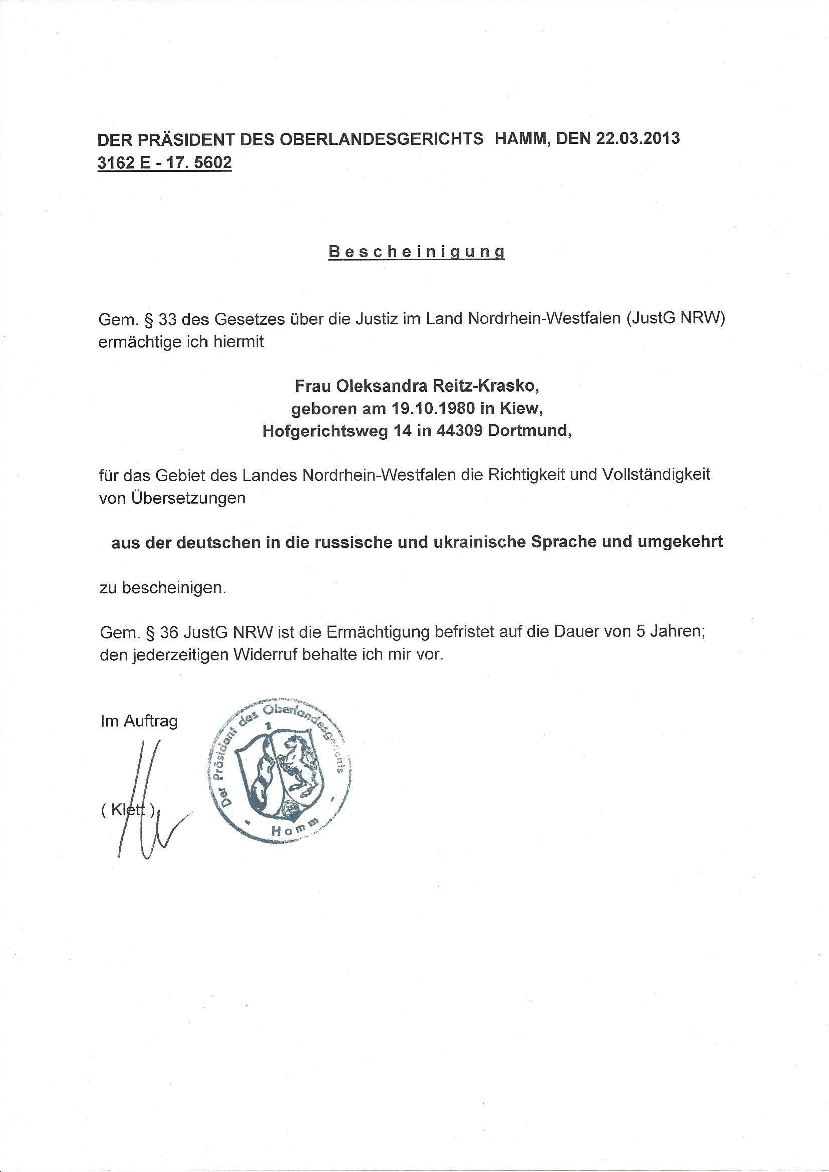 Leistungen - Übersetzungsbüro Reitz-Krasko